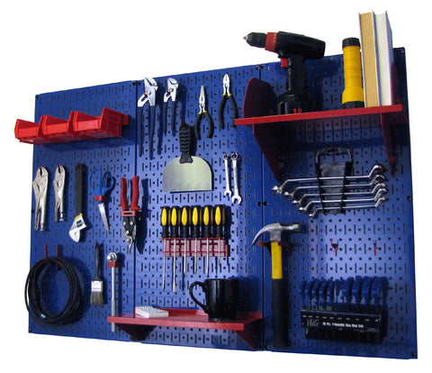 4' Metal Pegboard Standard Tool Organizer Kit with Accessories - Blue/Red