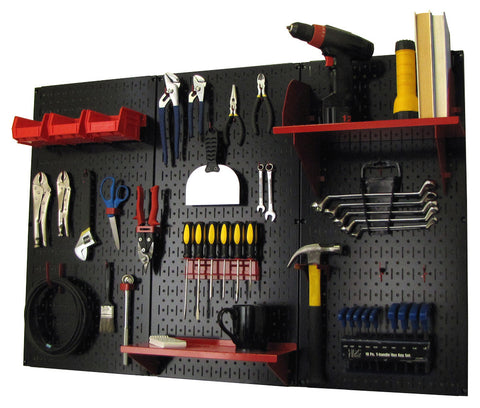 4' Metal Pegboard Standard Tool Organizer Kit with Accessories - Black/Red