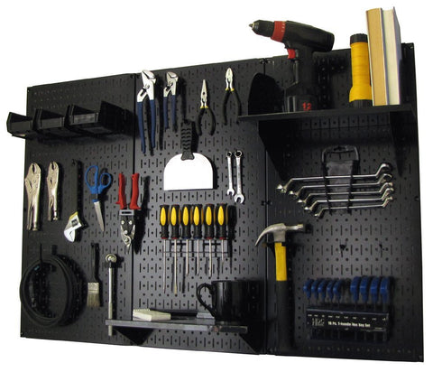 4' Metal Pegboard Standard Tool Organizer Kit with Accessories - Black/Black