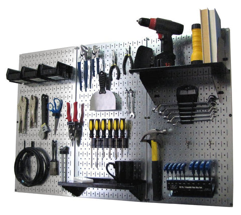4' Metal Pegboard Standard Tool Organizer Kit with Accessories - Galvanized Metallic/Black
