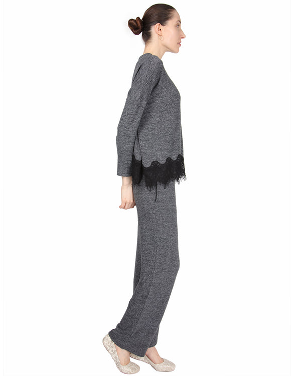 MeMoi Lounge Set with Contrast Lace Hem | Women's Sleepwear and Loungewear Collection (side) | Designer - Asi Efros | Charcoal Heather CPJ00045