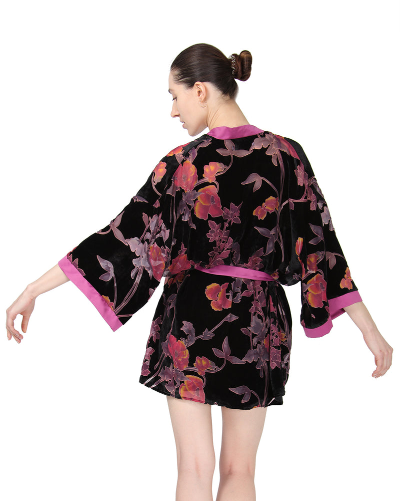MeMoi Velvet Burnout Kimono Robe | Sleep and Loungewear (Rear) | Designer - Asi Efros | Black CRS00068