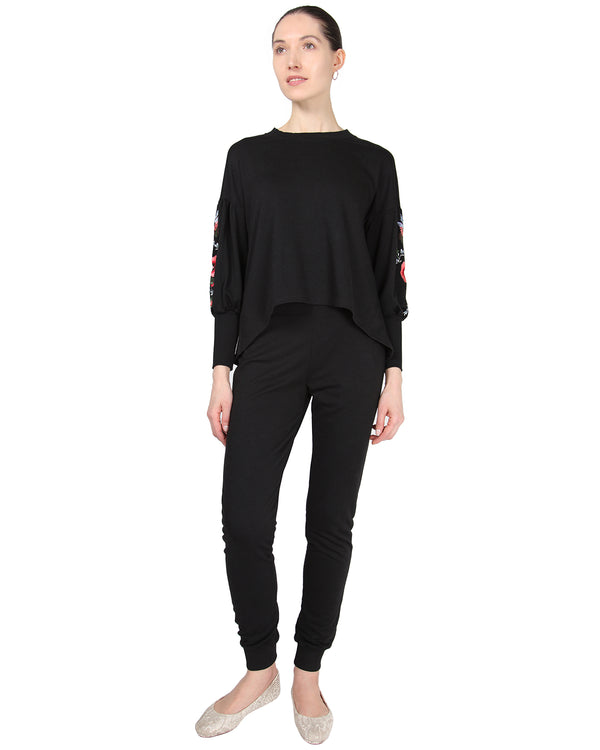 MeMoi Oversized Lounge Dropped Sleeve Top W/ Ribbed Cuff and Embroidery | Women's Loungewear Collection (Front) | Designer - Asi Efros |  Limo Black CTL00043
