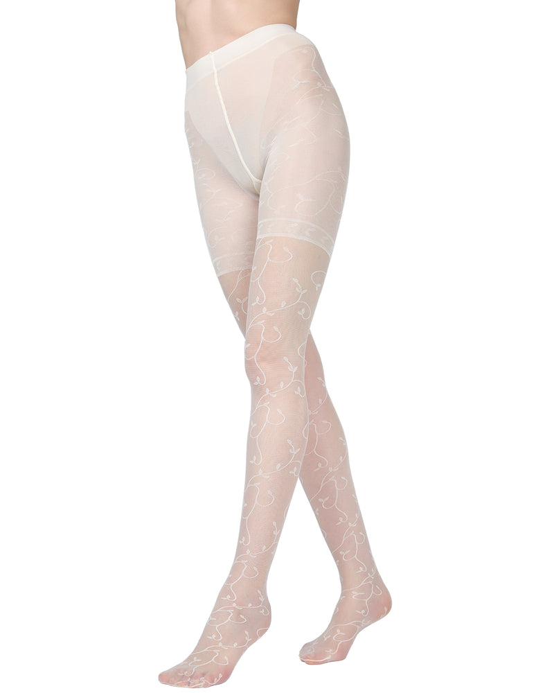 Divine Sheer Vine Pantyhose | MeMoi Womens Tights Collection | Womens Lingerie/Bridal | Panna ETS05266 -3