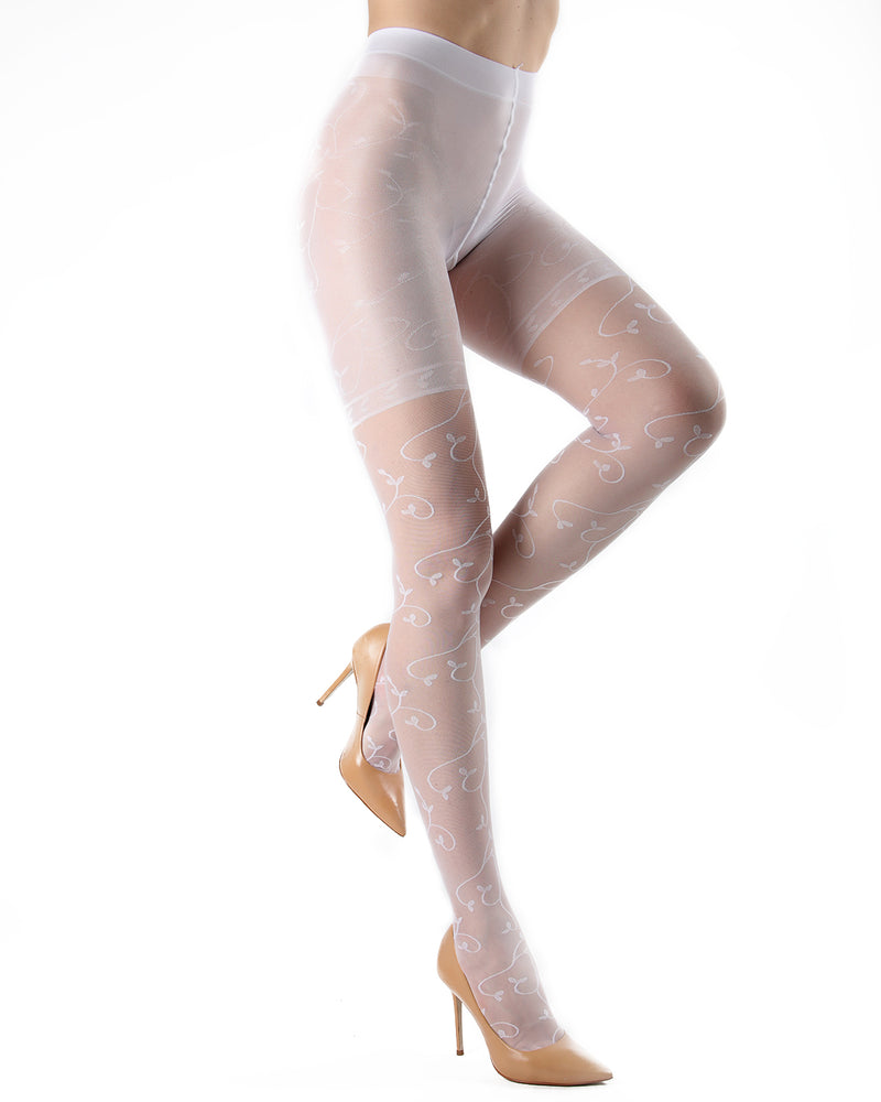 Divine Sheer Vine Pantyhose | MeMoi Womens Tights Collection | Womens Lingerie/Bridal | Bianco ETS05266