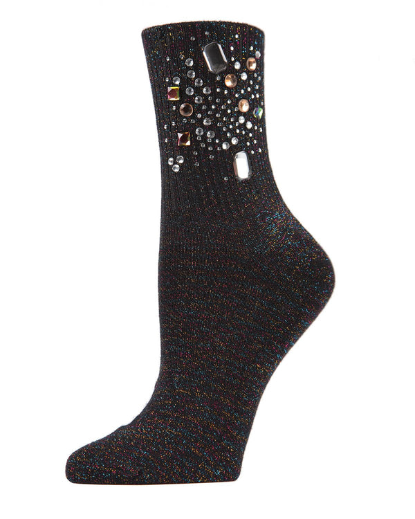 MeMoi Black Bejeweled Crew Socks | Women's Jeweled Fashion Crew Socks