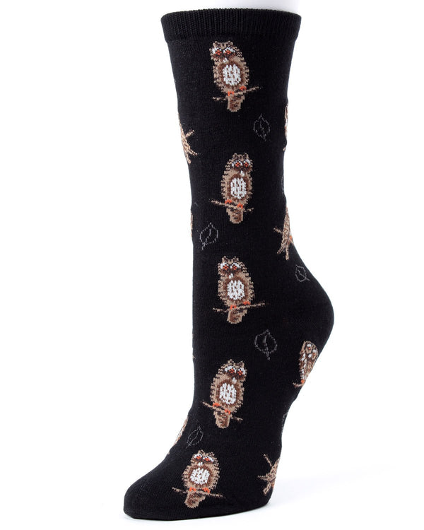 MeMoi Black Owl and Leaf Bamboo Crew Novelty Socks | Women's Fun Novelty Socks