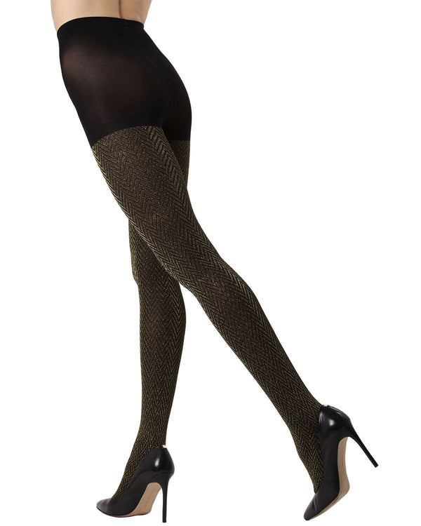 Metallic Chevron Tights |MeMoi Women's Fashion Hosiery - Pantyhose - Nylons Collection | Women & Girls | Black/Gold MF7 191