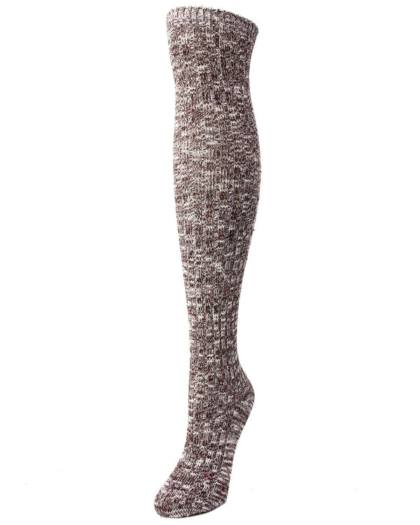 MeMoi Overcast Marled Rib Over the Knee Socks | Womens Thigh High Socks -MF7-874- Fig-