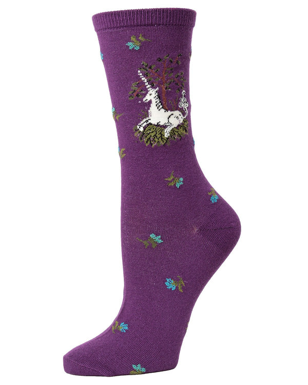 MeMoi Blackberry Cordial Unicorn Bamboo Crew Novelty Socks | Women's Fun Unicorn Novelty Socks