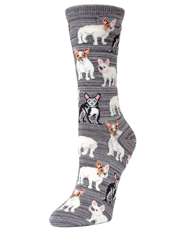 MeMoi Aspalt French Bulldog Bamboo Crew Novelty Socks | Women's Fun Novelty  Socks