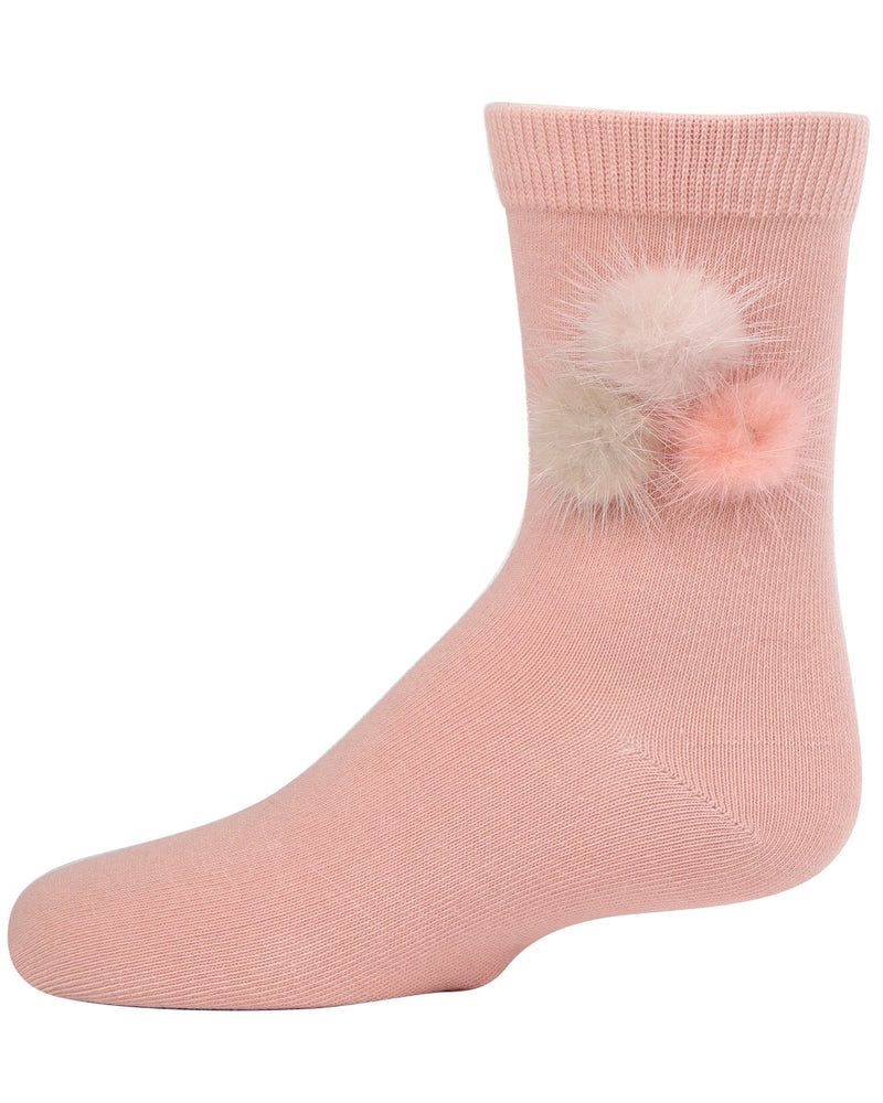 Fluffy Trio Pompom Crew Socks