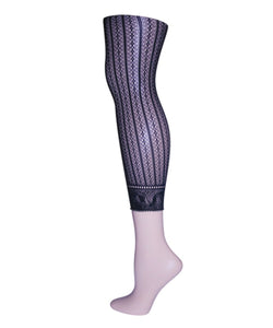 Moonlight Blue Linear Footless Net Tight | Tights for Women by MeMoi | Black MS1-200