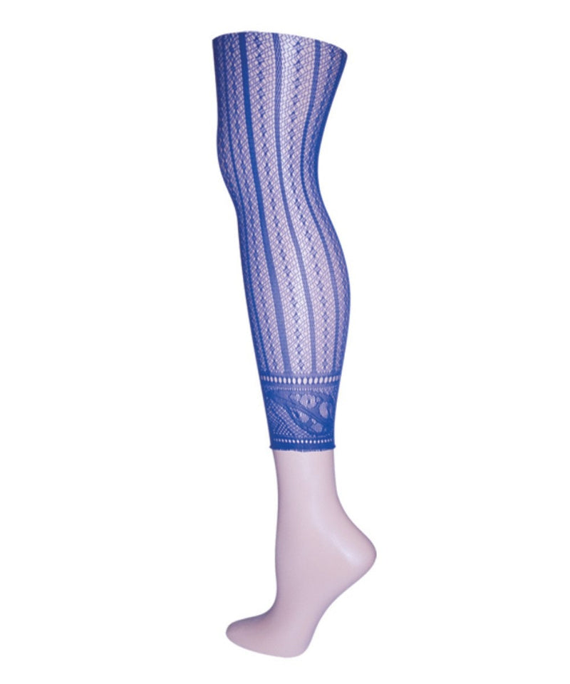Moonlight Blue Linear Footless Net Tight | Tights for Women by MeMoi | Moonlight Blue MS1-200