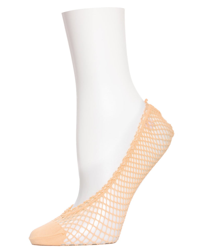 MeMoi Fishnet Shoe Liners | Women's no-show Shoe Liner Socks | No-Show Ankle Socks | womens clothing | Nude MS1-317