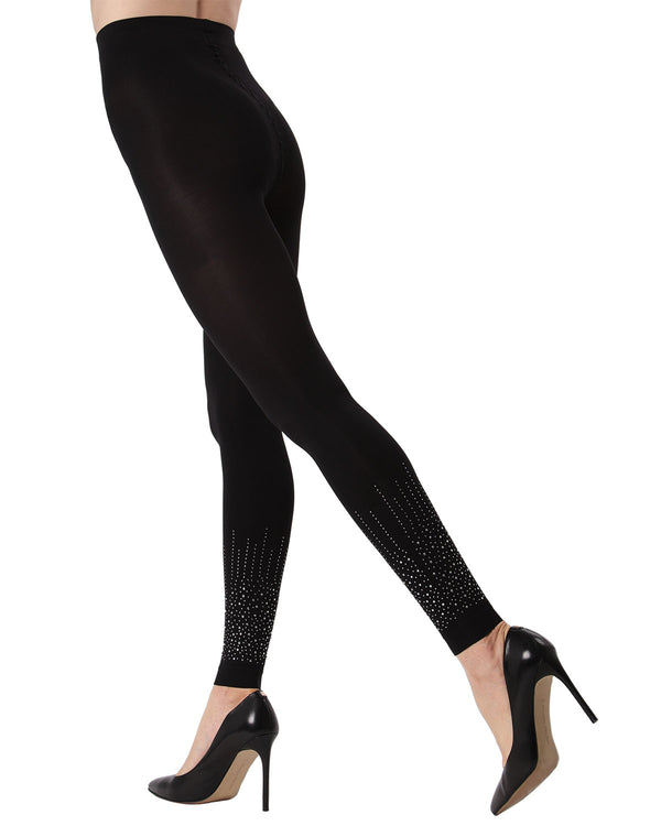 MeMoi Starburst Footless Tights | Women's Fashion Hosiery - Pantyhose - Nylons Collection (Side1) | Black MTF02227