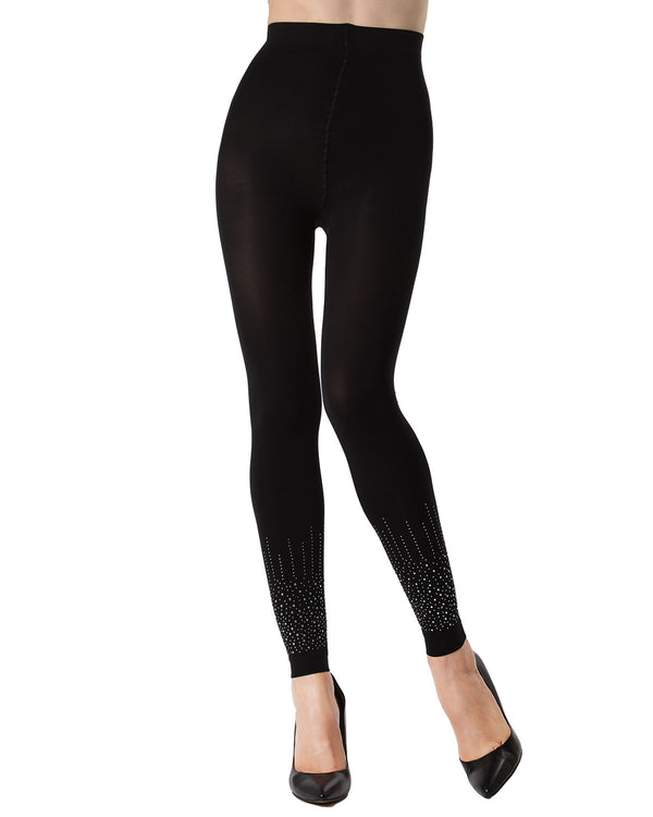 MeMoi Starburst Footless Tights | Women's Fashion Hosiery - Pantyhose - Nylons Collection (front) | Black MTF02227