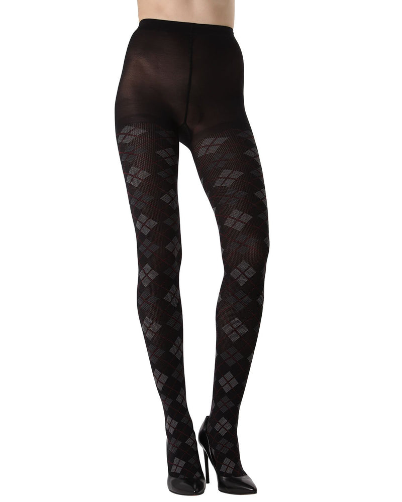 MeMoi Argyle Opaque Tights | Women's Fashion Hosiery - Pantyhose - Nylons Collection (front) | Black MTO02205