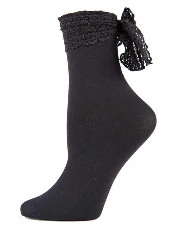 MeMoi Chiffon Lace Ribbon Ankle Socks | Women's Nylon Ankle Bow socks  -MWF-000080 BLACK-
