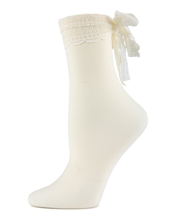 MeMoi Chiffon Lace Ribbon Ankle Socks | Women's Nylon Ankle Bow socks  -MWF-000080 IVORY-