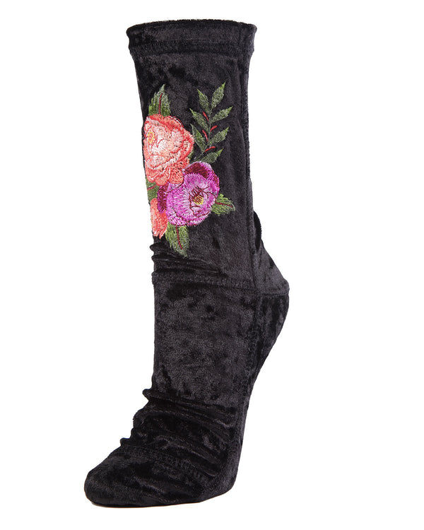 MeMoi Roses Crushed Velvet Socks | MeMoi Women's Plush Winter Sock Collection | Warm Socks for Winter |  Calcetines calientes para el invierno -MWF-000085 BLACK-