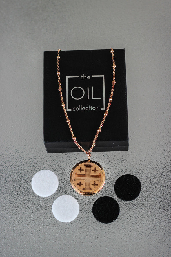 Rose Gold Stainless Steel Diffuser Necklace - Arrow Locket - The Oil Collection - 2