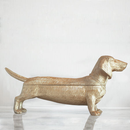 Gold dachshund resin dog with back that opens for a secret box or bowl home decor item