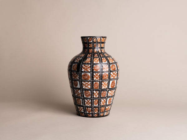 Rare grand vase de Robert Picault, France (vers 1948)..Large striped vase by Robert Picault, France (circa 1948)