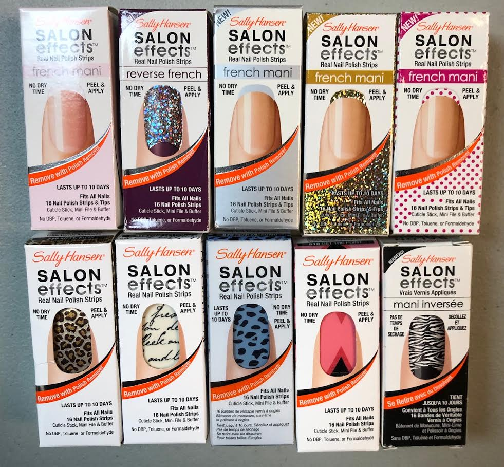 WHOLESALE ASSORTED SALLY HANSEN SALON EFFECTS REAL NAIL POLISH STRIPS - 100 PIECE LOT