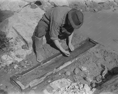 Man Sluice Box Sifting Gold Vintage 8x10 Reprint Of Old Photo