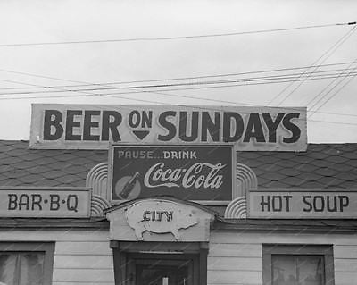 Beer On Sundays Coca Cola Diner 1940 Vintage 8x10 Reprint Of Old Photo