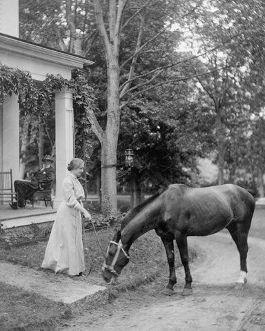 Helen Keller With Horse 1907 Vintage 8x10 Reprint Of Old Photo