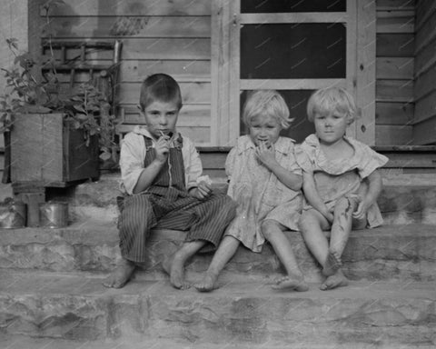 Poor Kids Sitting On Steps During Depression Vintage 8x10 Reprint Of Old Photo