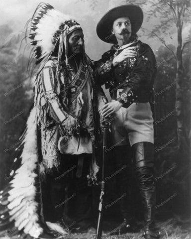 Sitting Bull and Buffalo Bill 1885 8x10 Reprint Of Old Photo
