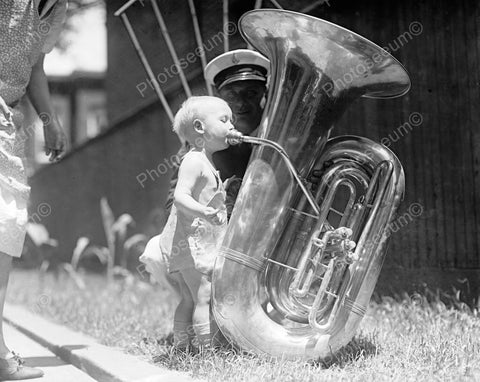Adorable Baby Tot Blows Into Big Tuba Vintage 8x10 Reprint Of Old Photo