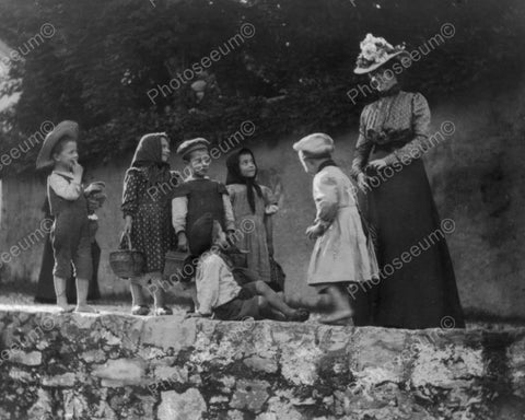 Victorian Lady & Children On Fun Stroll! 8x10 Reprint Of Old Photo
