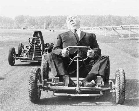 Alfred Hitchcock Rides Go Cart! 8x10 Reprint Of Old Photo