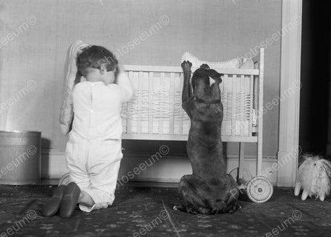 Adorable Child & Dog Pray At Baby Cradle 8x10 Reprint Of Old Photo