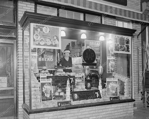 A&P Store Window Display Of Dads Bread 1924 Vintage 8x10 Reprint Of Old Photo