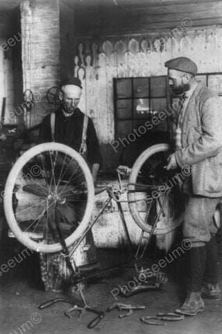 Antique Bicycle Repair Shop Scene 4x6 Reprint Of Old Photo