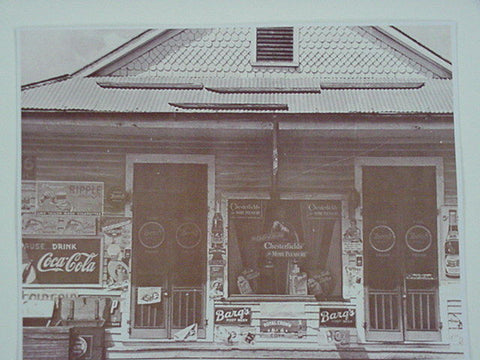 Chesterfield, 7UP, Barqs, RC General Store Sepia Card Stock Photo 1940s