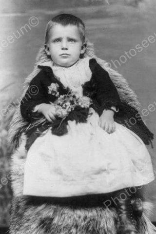 Victorian Boy Poses In Dress With Flowers 4x6 Reprint Of Old Photo