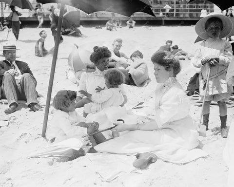 Asbury Beach Victorian Lady Bathers 8x10 Reprint Of Old Photo