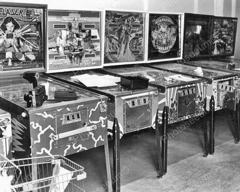 Arcade Pinball Machine Lineup 1970s Vintage 8x10 Reprint Of Old Photo