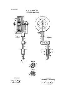USA Patent Tattooing Gun 1890's Drawings
