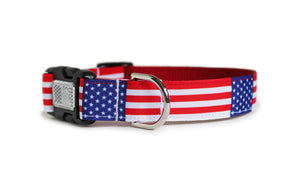 American Flag Dog Collar with the American flag repeating along the length of the collar