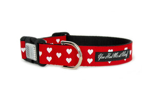 Be My Valentine Dog Collar in red with small white hearts