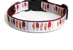 Back side of the Boho Feathers Dog Collar showing the pattern repeating along the collar