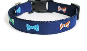 Back side of the Bow Ties Dog Collar, displaying the pattern repeating itself along the length of the collar