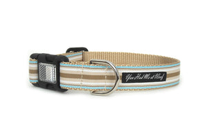 Brently Striped Dog Collar with horizontal beige, white, and light blue stripes